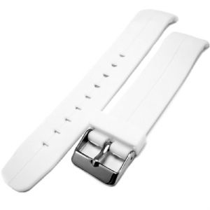 White Curved End Centre Groove PU Watch Strap